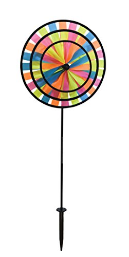 In the Breeze Neon Triple Wheel Spinner- Ground Stake Included - Colorful Décor for your Yard and Garden by In the Breeze