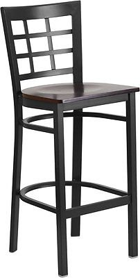 Black Window Back Metal Restaurant Barstool with a Walnut Finish Wood Seat