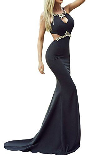 Elady Elegant Diamond Embellished Evening Party Mermaid Gown Prom Maxi Dress Sexy...