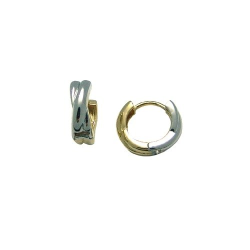 Reversible Spun Two-Tone 14K Yellow & White Gold Huggie Earrings