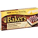 Bakers Premium White Baking Chocolate Bar, 4 Ounce - 12 per case.