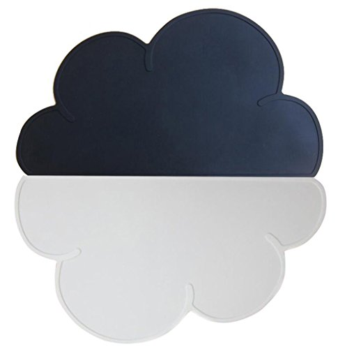 JYPC Kids Silicone Cloud Placemat Dinnerware, Table Mat, Washable Portable, White/Black - Farmhouse Kids Table