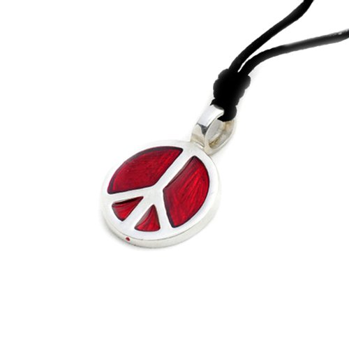Vietsbay Red Peace sign Silver Pewter Charm Necklace Pendant Jewelry ()