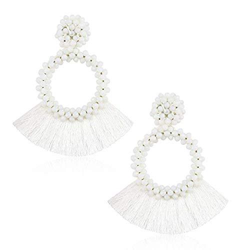 White Tassel Earrings for Women Bohemian Statement Beaded Fringe Hoop Earrings Gift for Girls ()