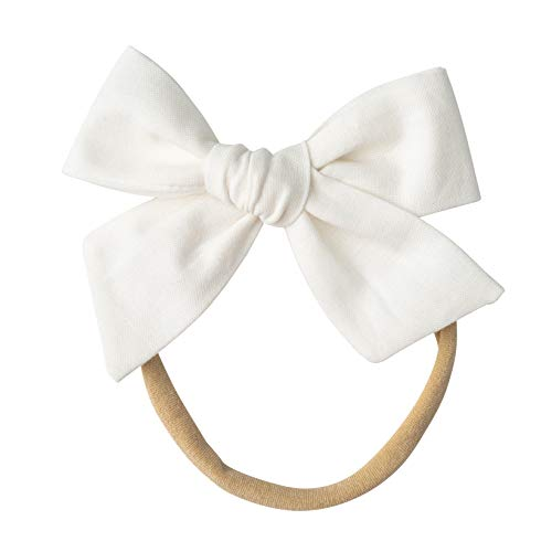 - Handmade Cotton Hair Bows For Baby Girls and Toddlers (One Size Fits All) (White, Nylon)