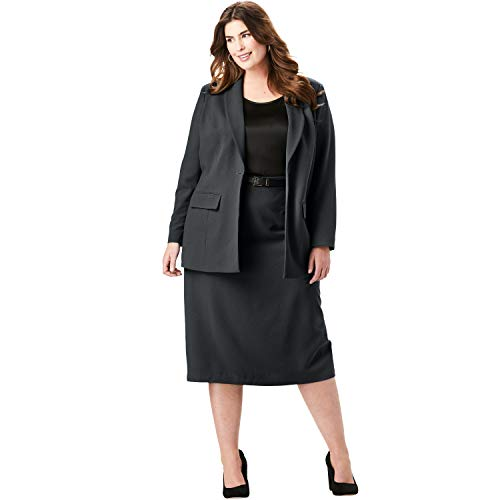 Jessica London Women's Plus Size Single-Breasted Skirt Suit - Black, 24