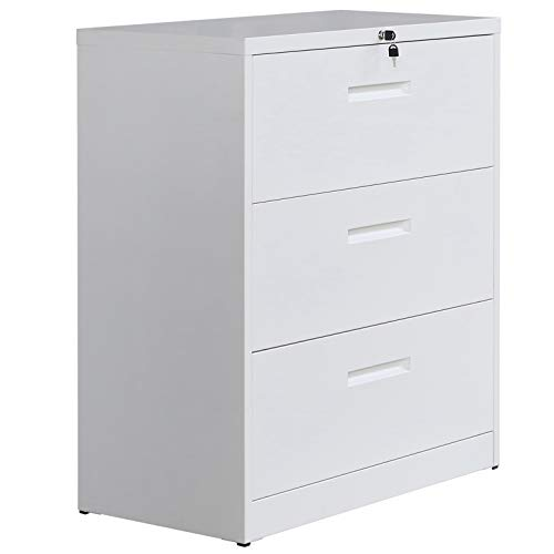 P PURLOVE 3 Drawer Lateral File Cabinet Lockable Heavy Duty Metal File Cabinet Lateral (White)