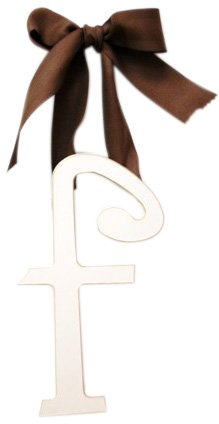 New Arrivals Wooden Letter F with Solid Brown Ribbon, Cream