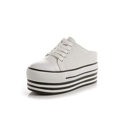 Pantoufles Femmes White Décontractées Pour 34 Chaussures Femmes Augmentées Jia Toile En Hong 37 Baotou black Nouvelles y1BqyPI