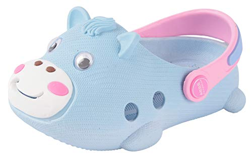 Yellow Bee Cow Pattern Clogs for Boys, Light Blue