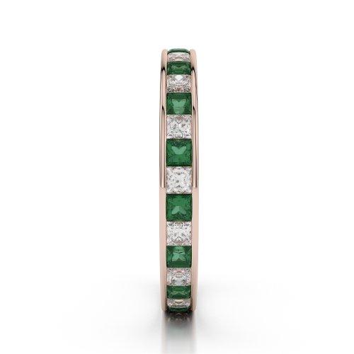 Or Rose 18carats 1CT G-H/VS sertie de diamants ronds découpé Émeraude et bague éternité Agdr-1132