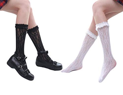 (Women Summer Lace Wedding Party Dress Princess Crew Socks 2 Pack White Black (Mix Color-D))