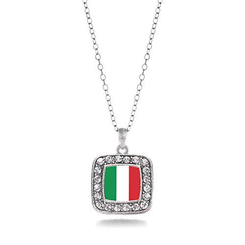 Inspired Silver - Italian Flag Charm Necklace for Women - Silver Square Charm 18 Inch Necklace with Cubic Zirconia Jewelry