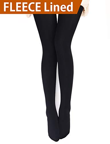 VERO MONTE 1 Pair Womens Opaque Warm Fleece Lined Tights (BLACK) 460112