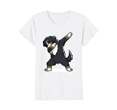 Womens Bernese Mountain Dog T-Shirt Dab Dance Gift Shirt Medium White