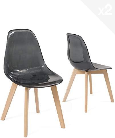 KAYELLES Lot 2 chaises Scandinaves Transparente Chaise