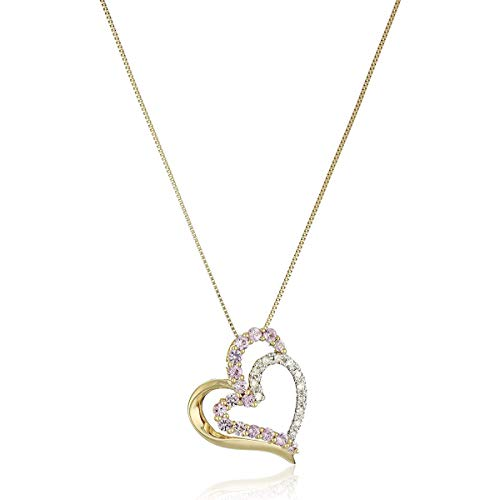 10k Yellow Gold Necklace with Pink Sapphire and Diamond Heart Pendant, ()