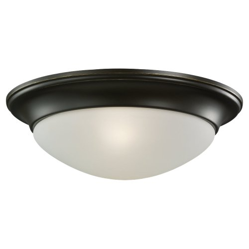 Sea Gull Lighting 75435-782 Flush Mount with Satin Etched Glass Shades, Heirloom Bronze Finish