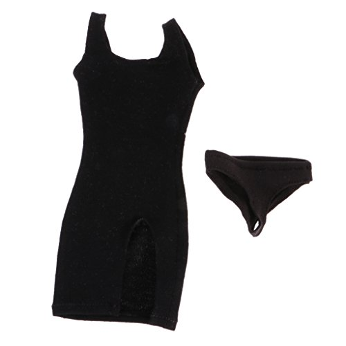1//6 Black Lace Dress+Briefs+Neck Band+High Heel Fits for 12/'/' Phicen Figures