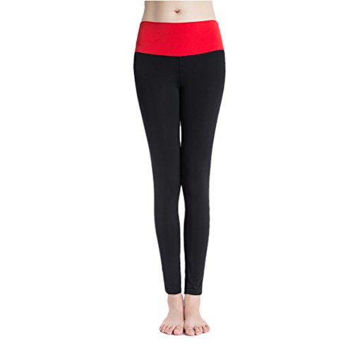 Zhhlaixing Women's Fashion Sports Yoga Running Fitness Elasticity Leggings Pants Black&Red