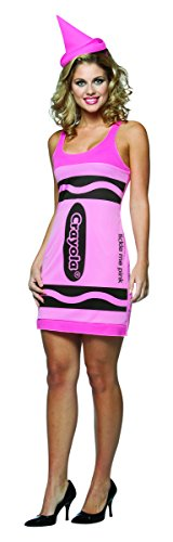 Rasta Imposta Crayola Tank Dress Costume, Tickle Me Pink, Adult 4-10 (Crayola Costumes For Adults)