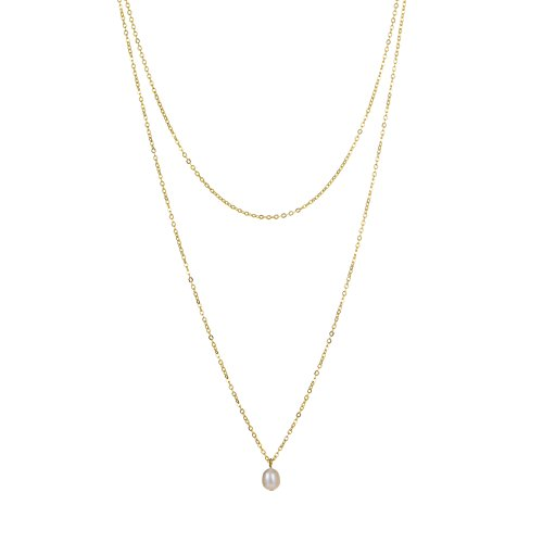 S.J JEWELRY Fremttly Womens Simple Delicate 14K Gold Fill/Rose Gold/Silver Plated Triangle and Freshwater Pearls Layering Pendant Adjustable Y Necklace-Y-DB Pearls