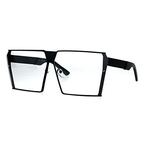 Futuristic Geometric Large Squared Racer Disco Metal Rim Eye Glasses - Rims Futuristic