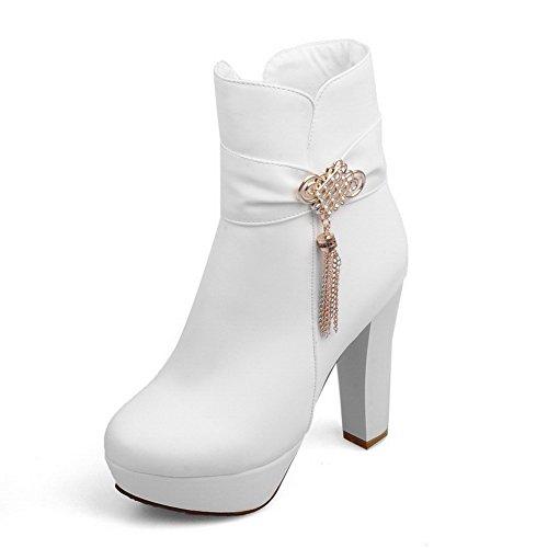 AllhqFashion Damen Reißverschluss Mittler Absatz Niedrig-Spitze Stiefel mit Metallisch, Weiß, 36