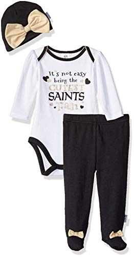 NFL New Orlean Saints Baby-Girls Bodysuit, Pant, Cap Set, Black, 3-6 Months