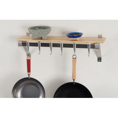 Concept Housewares PR-40322 Wall Rack, Natural - Wood Pot Rack