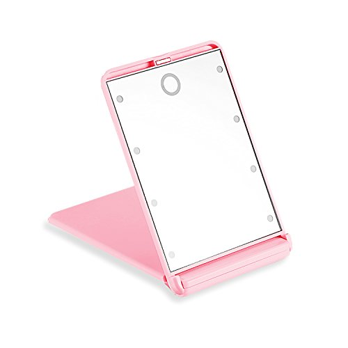 LED Travel Mirror Folding Portable Cosmetic Mirror,Touch Switch with 8 Dimmable Light Compact Pocket Size Easy to Carry-on(pink) (Mirrors Touch Compact)