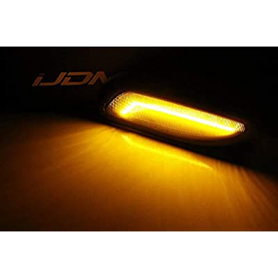 iJDMTOY Smoked Lens Amber Full LED Bumper Side Marker Light Kit Compatible With 2001-2007 Mercedes W203 C-Class Sedan, Powered by 30-SMD LED, Replace OEM Front Sidemarker Lamps: Automotive