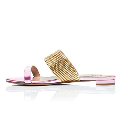 YDN Women Fashion Open Toe Low Heel Mules Sandals Slip on Clogs Slide Shoes Pink 10 by YDN (Image #2)
