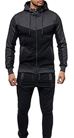 Men Tracksuit 2PC Patchwork Sweatshirt Top Pants Hooded Sports Suit Dark Grey XS