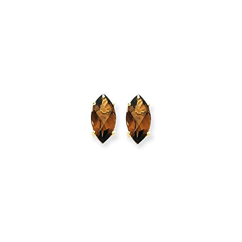 - ICE CARATS 14kt Yellow Gold 10x5 Marquise Checker Cut Smoky Quartz Post Stud Ball Button Earrings Gemstone Fine Jewelry Ideal Gifts For Women Gift Set From Heart