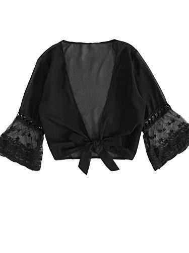 SweatyRocks Women's Sexy Chiffon Deep V Neck Tie Knot Front Blouse Crop Top Black Medium ()