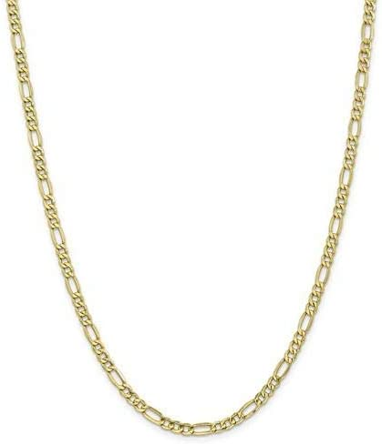 Leslies 10K 475mm SemiSolid Figaro ChainMensWomens10k Yellow GoldFigaro Necklace Chain Type16 in Length475 mm WidthLobster Clasp