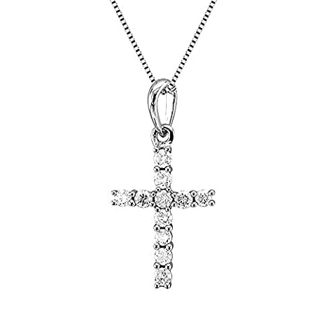 10k White Gold Cross Diamond Pendant Necklace ( 1/5 Carat ) (Girls Cross Necklace White Gold)