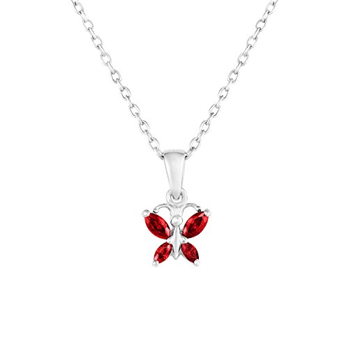 Sterling Silver Butterfly Pendant Necklace with Simulated Birthstone CZ for Girls, 16'' (January)