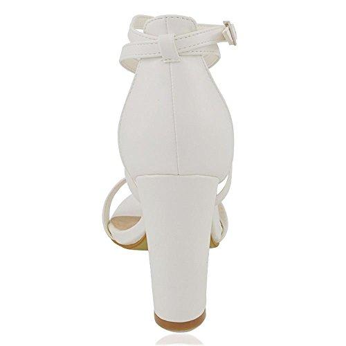abierta tobillo tacón de cuadrado Essex al punta tira y Sandalias Blanco Sintético Sintético con Cuero Glam wqqPXRtz