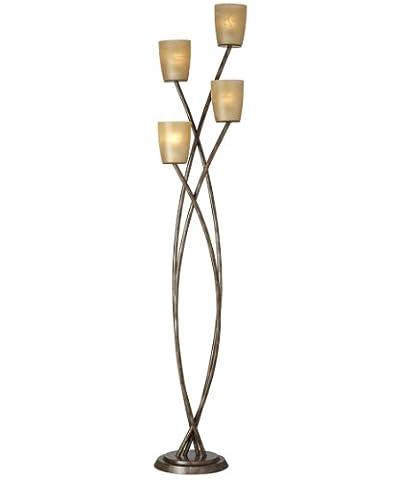 Pacific Coast Lighting 85-2616-30 Metro Plaza 4-Light Floor Lamp with Copper Bronze/Gold Finish and Amber Glass - Hubbardton Forge Bronze Floor Lamp