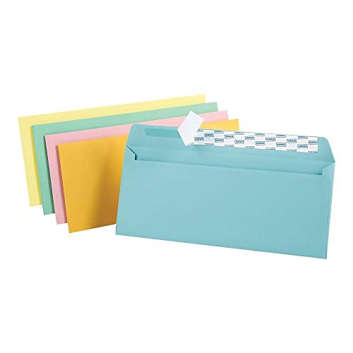 - Staples EasyClose Pastel Color #10 Envelopes, 4-1/8 inches x 9-1/2 inches, Assorted, 50/Pack