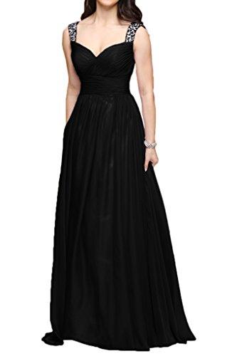 Traeger Chiffon Abendkleider A Schwarz Partykleider Braut Brautjungfernkleider Zwei Marie La Orange Lang Linie WxI7X4Oq