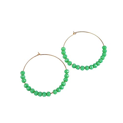 Women Handmade Beaded Natural Stone Pendant Geometric Round Earrings Ladies Jewelry Gift Accessories(F)