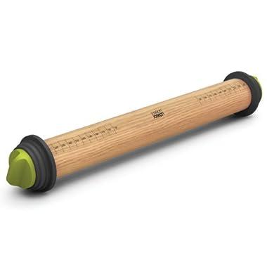 Joseph Joseph 16.5-Inch Adjustable Wood Rolling Pin, Grey