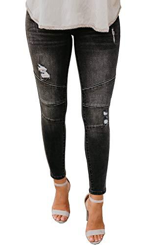 Lynwitkui Womens Destroyed Ripped Holes Skinny Jeans Moto Leggings Low Stretchy Straight Leg Slim Fit Denim Pants Deep Grey