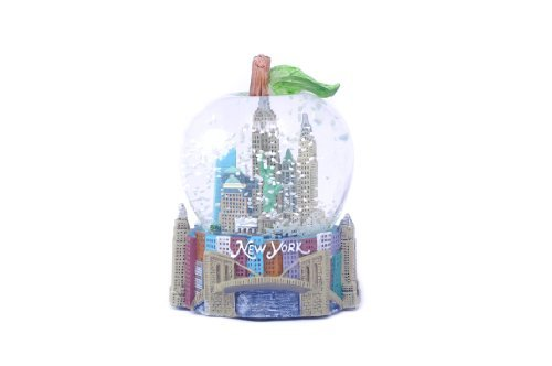 Big Apple Shaped NYC Landmark Snowglobe on Top a Embossed Hand Painted NYC Skyline Base