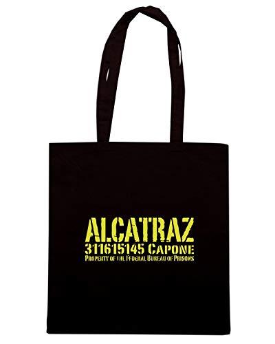 FUN0529 Shirt Speed ALCATRAZ CAPONE Shopper Borsa Nera dadwBqIU
