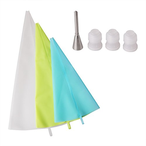 Delidge 3 Sizes Resuable Silicone Cake Decorating Icing Pastry Bag with 3 Couplers 1 Puff Nozzle Kitchen Utensil Mixed Color (Pastries Mixed)