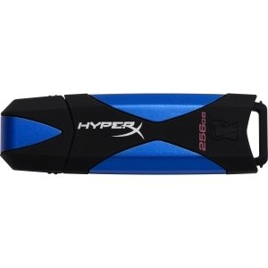 Kingston Design (Kingston 256GB DataTraveler HyperX USB 3.0 Flash Drive - 256 GB - Blue, Black - 1 Pack - ReadyBoost, Rugged Design -)